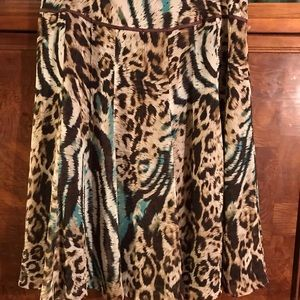 Tribal Animal Print Flare Skirt